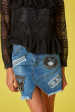 Falda denim parches MKDS