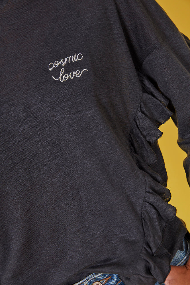 Camiseta lino gris m/larga COSMIC LOVE