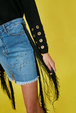 Falda denim & flecos COSMIC LOVE