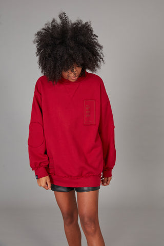 Sudadera oversized parches ROJO