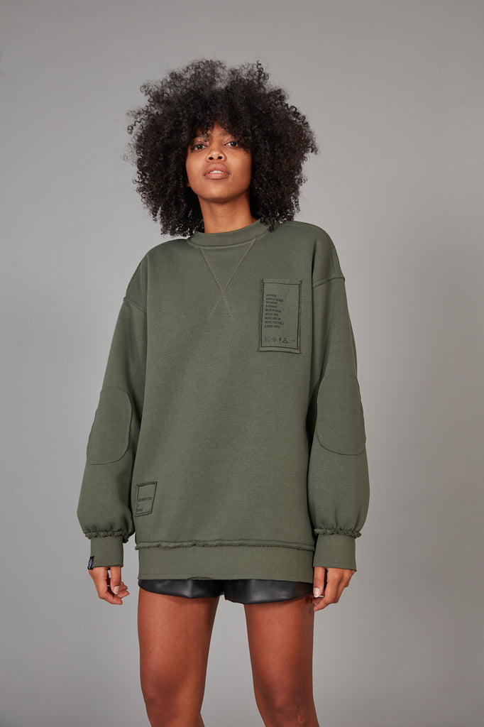 Sudadera oversized parches KHAKI
