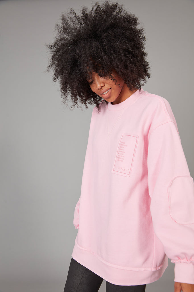 Sudadera oversized parches ROSA