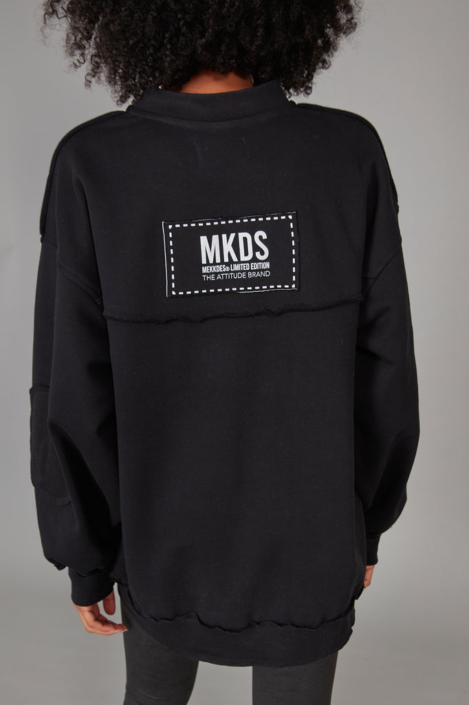 Sudadera oversized parches NEGRO