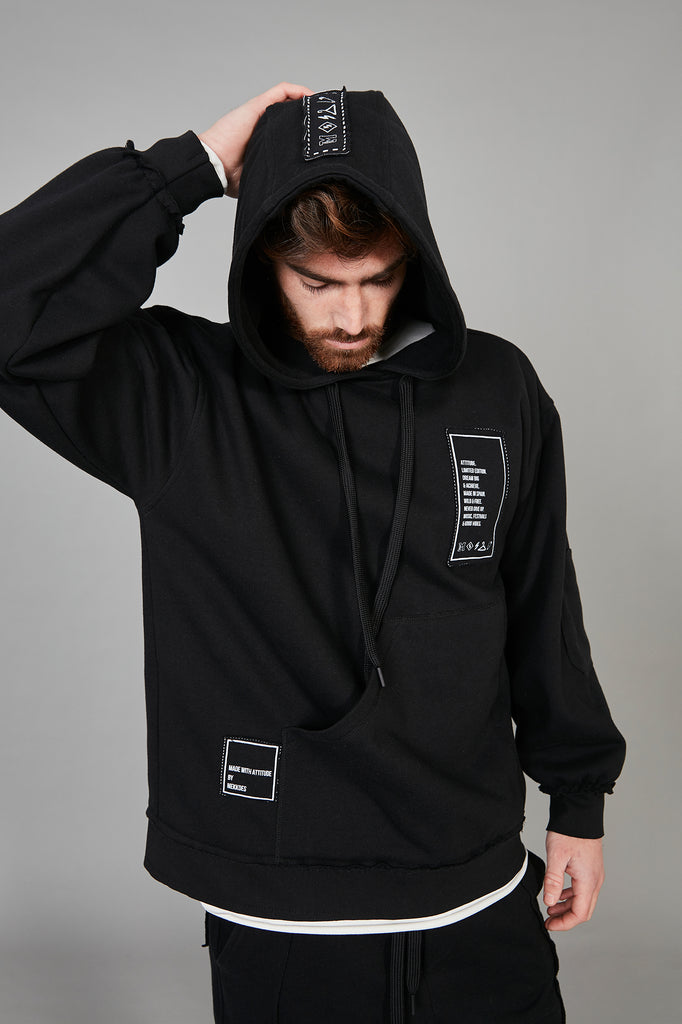 Sudadera HE Oversized negra parches & capucha