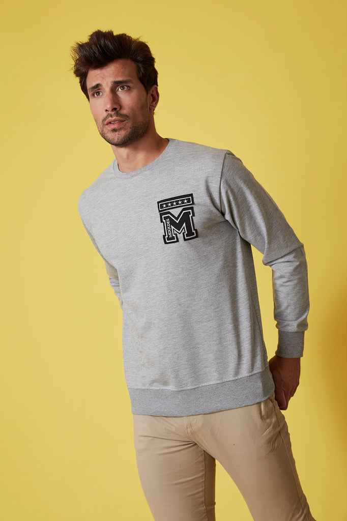 Sudadera HE gris parches & rotos