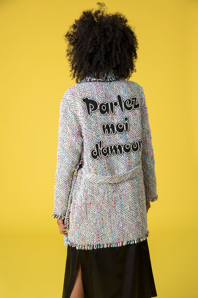 Trench tweed rosa PARLEZ MOI D´AMOUR