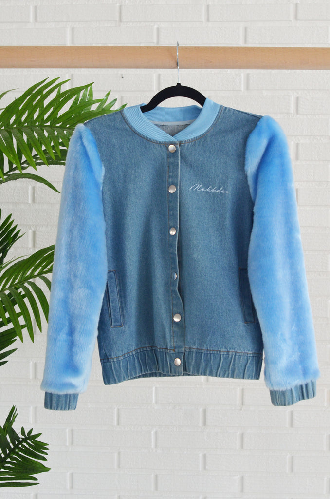BOMBER DENIM & FUR AZUL