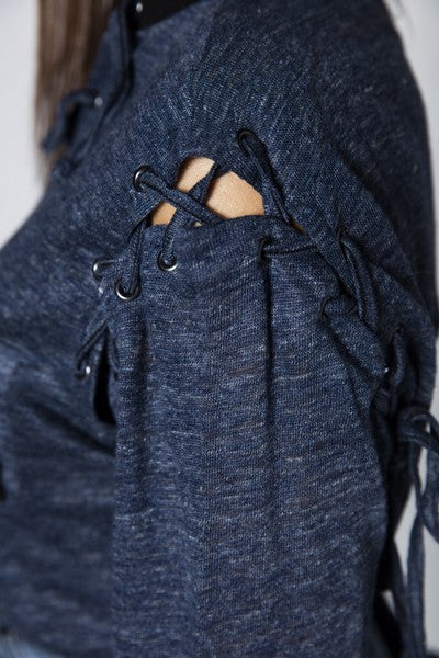 Camiseta Lace-up Azul & Negro