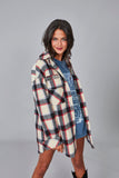Chaqueta oversized cuadros crudo & multicolor
