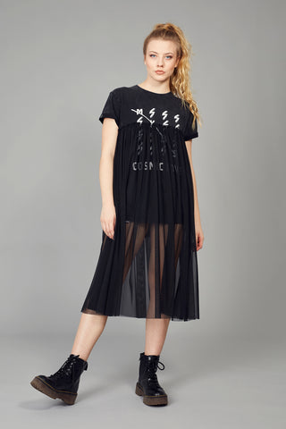 Camiseta-Vestido COSMIC LOVE & tul largo
