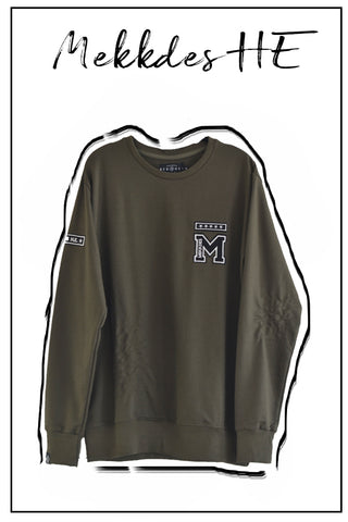 Sudadera HE khaki parches & rotos