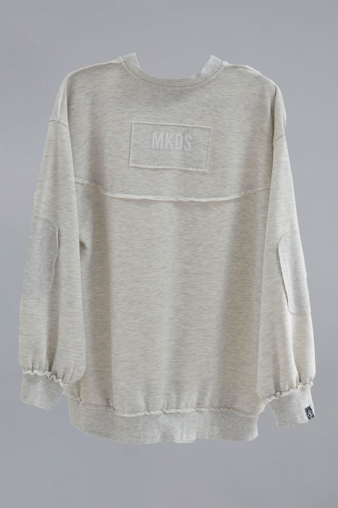 Sudadera oversized parches GRIS CLARO