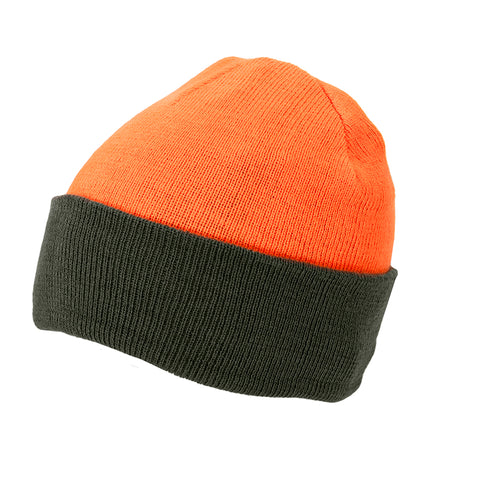 Wendestrickmütze oliv-orange