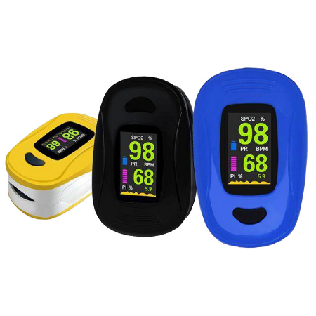 Blood Oxygen Saturation Monitor with Free Batteries & 10-Pcs 3PLY Mask.
