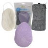 Konjac Sponge Set - Organic Skincare face body Exfoliating and Deep Pore Cleansing 3 LARGE Piece Pack Infused with Activated Charcoal and Natural colors