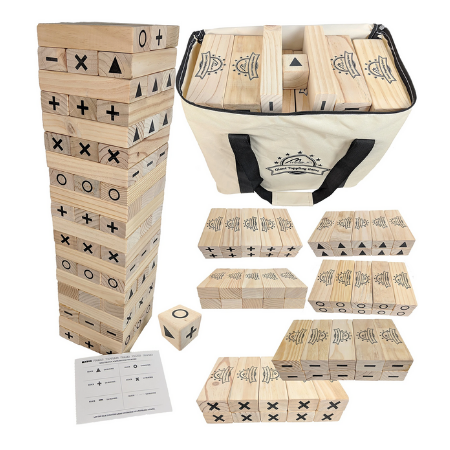60 BLOCKS TIC TAC GIANT TOPPLING TUMBLING TOWER with Bonus Rules Card and Dice Timber Game Stacks to 6 feet Its Just like the Classic game with a twist of tic tac toe