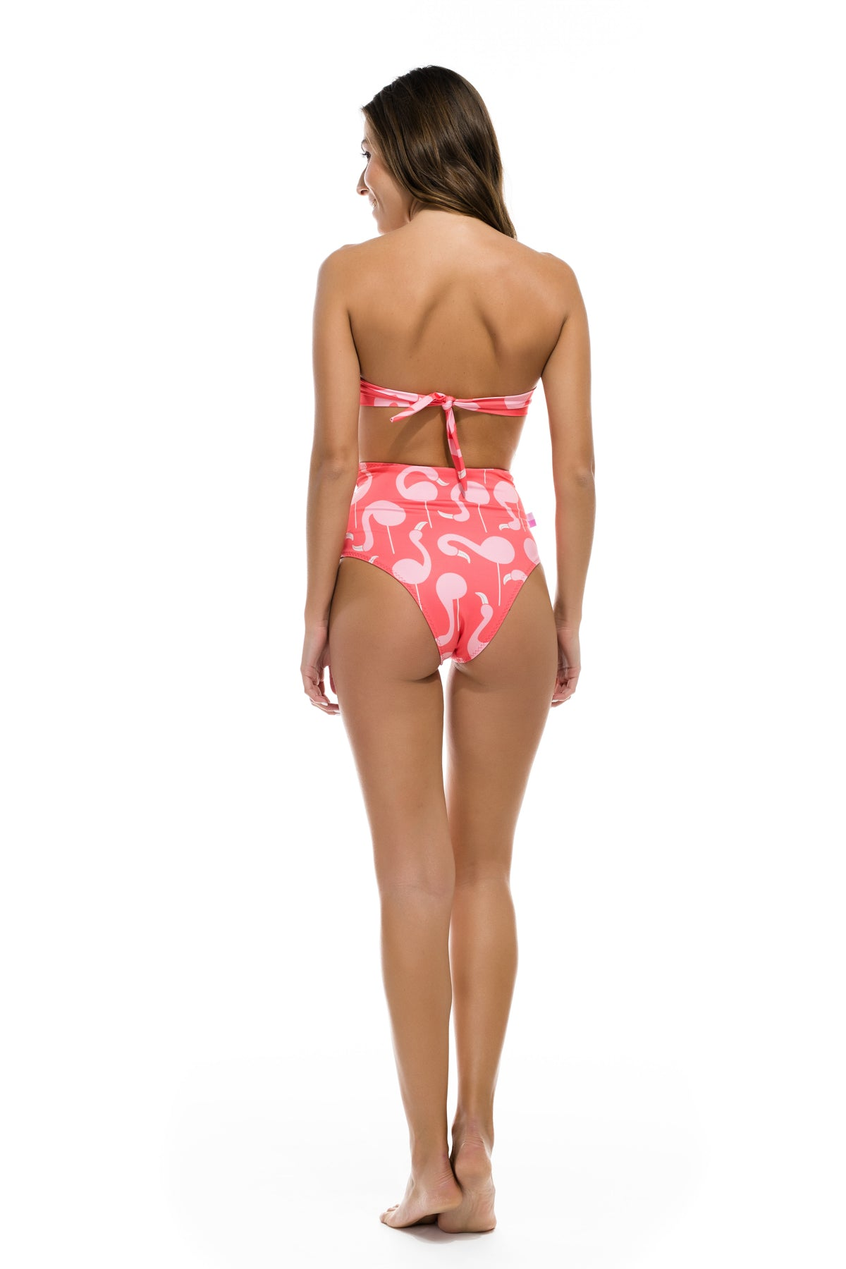 "Strapless High Waisted Bikini  ""Flamingo Lollipop"""