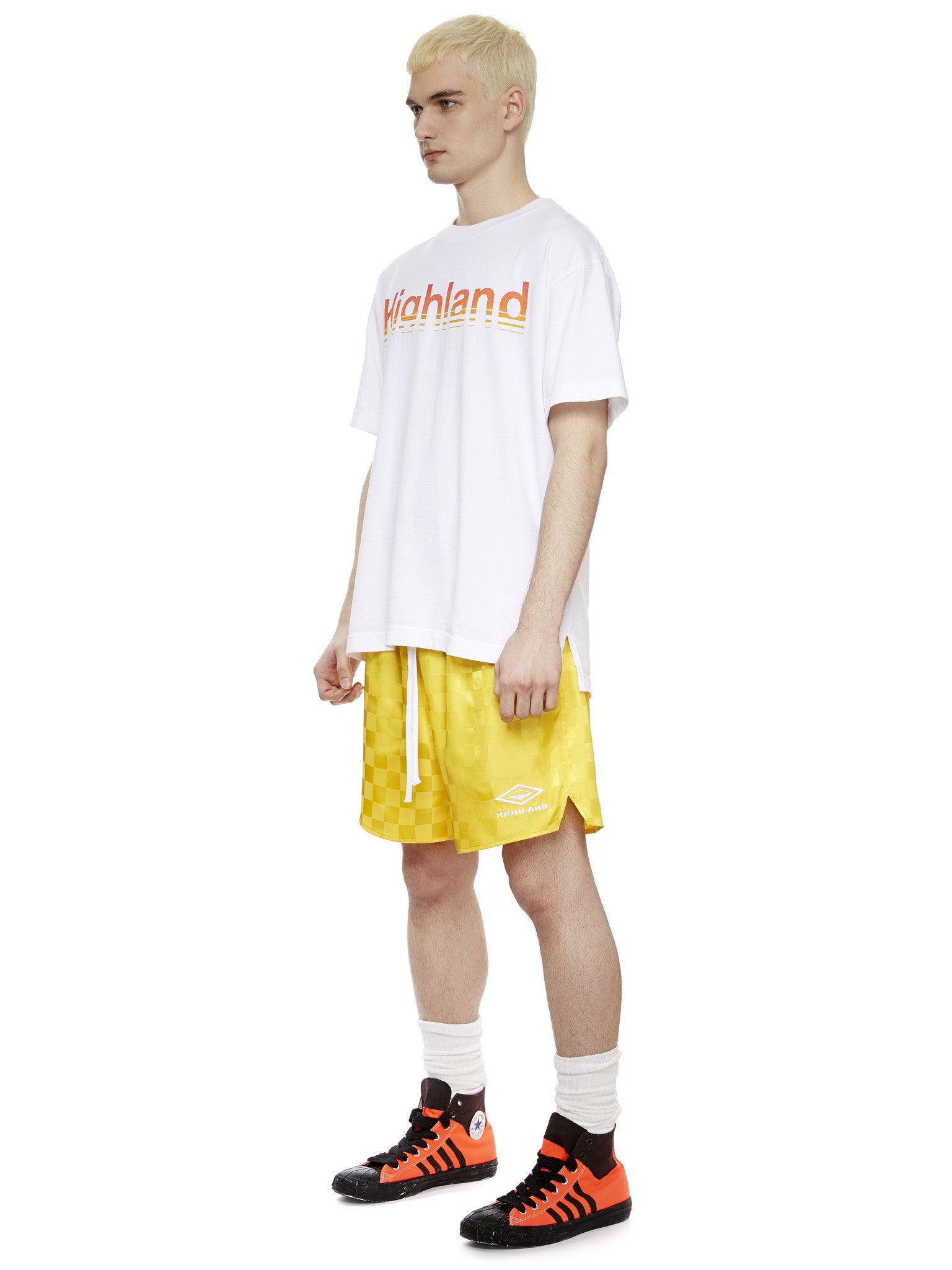 S/S Logo T-Shirt in White/Flame Gradient