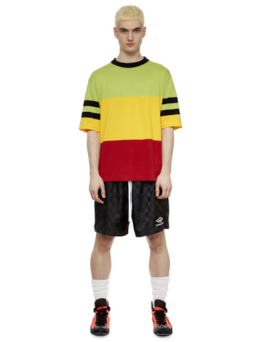 S/S Surf T-Shirt in Green, Yellow, Red and Black Stripe