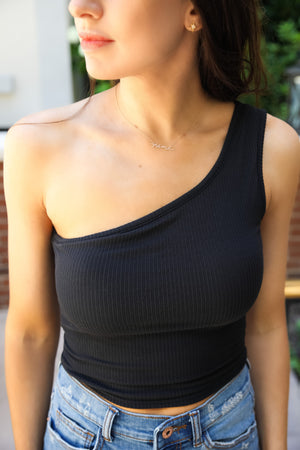 Friday Night One Shoulder Top - Black