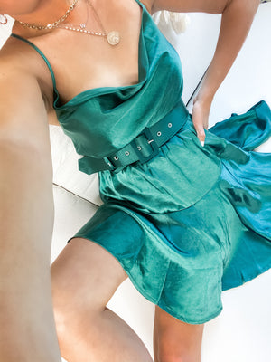 Emerald City Belted Satin Dress