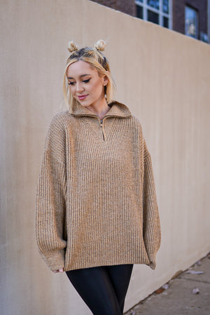 Love You A Latte Quarter Zip Sweater