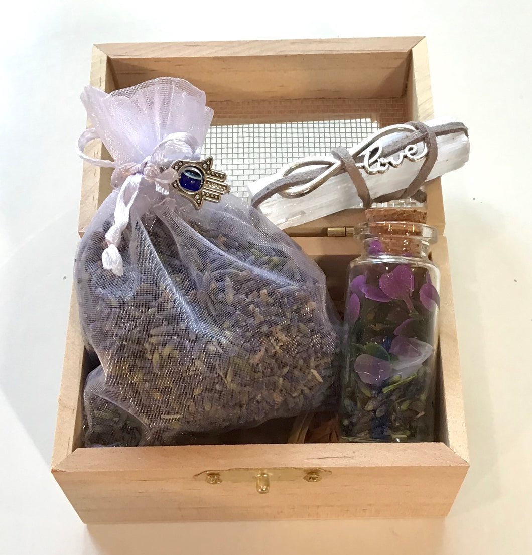 Self care kit- Lavender; love  charm (Wood box- mesh top)