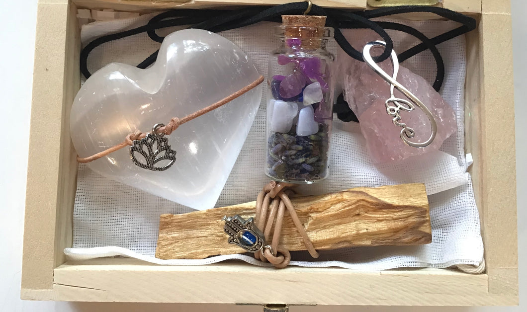 Self Care Kit - Large wood box- selenite heart