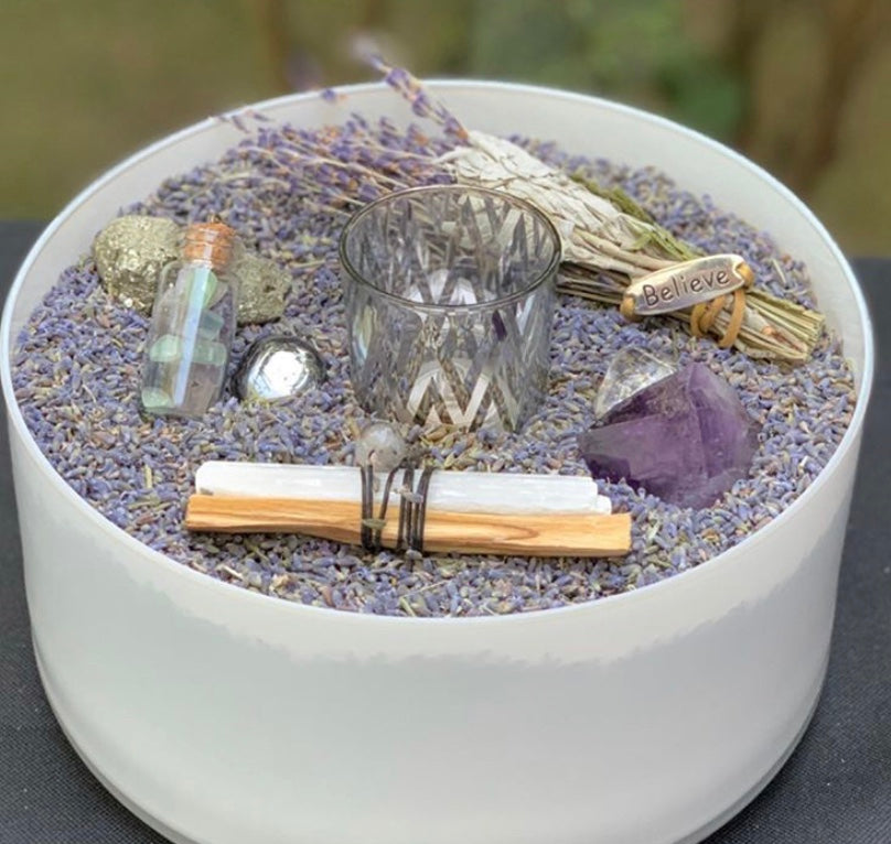 HAPPY ZEN KIT- LAVENDER (white round vase)