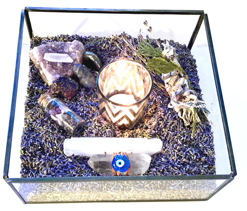 Happy Zen Kit- Lavender Large Tray ; Blue Evil Eye Good Luck Charm