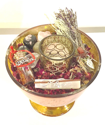 Happy Zen Kit- Rose Collection in Mercury Glass Urn/ gilded