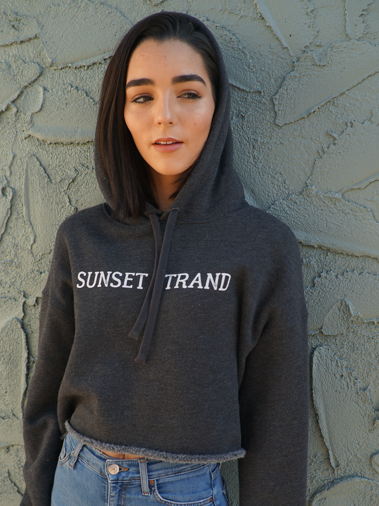 SUNSET STRAND CROP HOODIE - DARK GREY - Sunset Strand