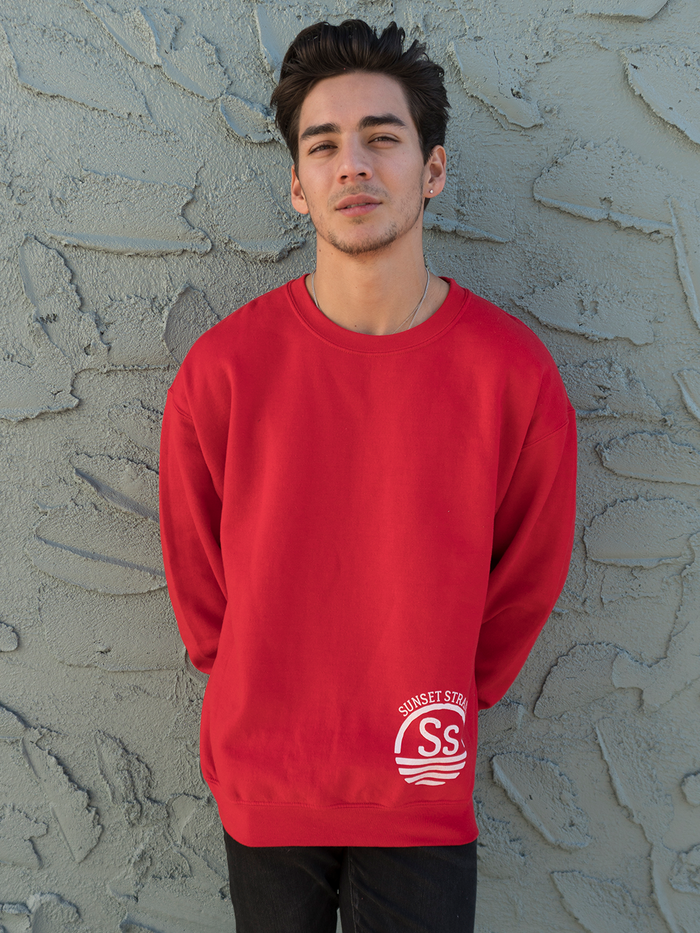 SUNSET STRAND CREWNECK SWEATSHIRT - ALT RED - Sunset Strand