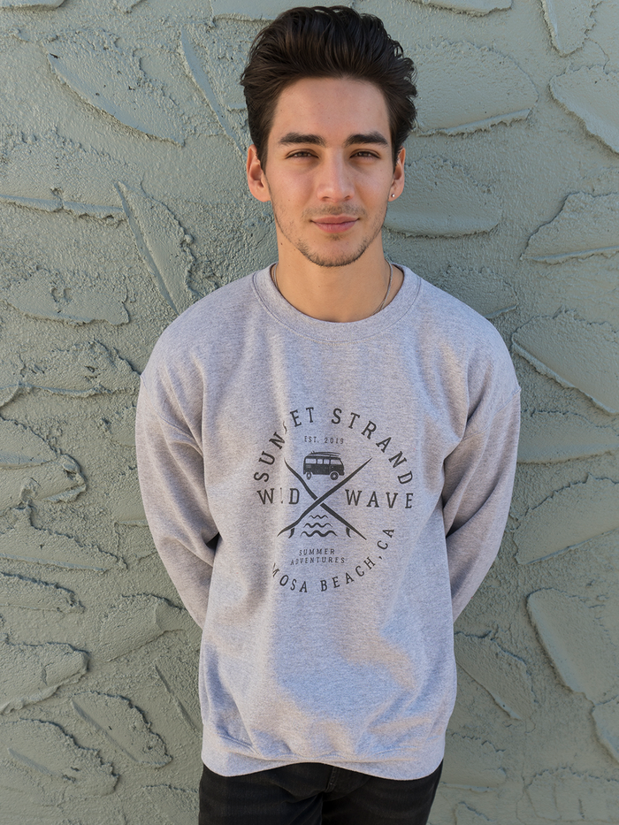SUNSET STRAND UNISEX CREWNECK SWEATSHIRT - WILD WAVE SPORT GREY - Sunset Strand