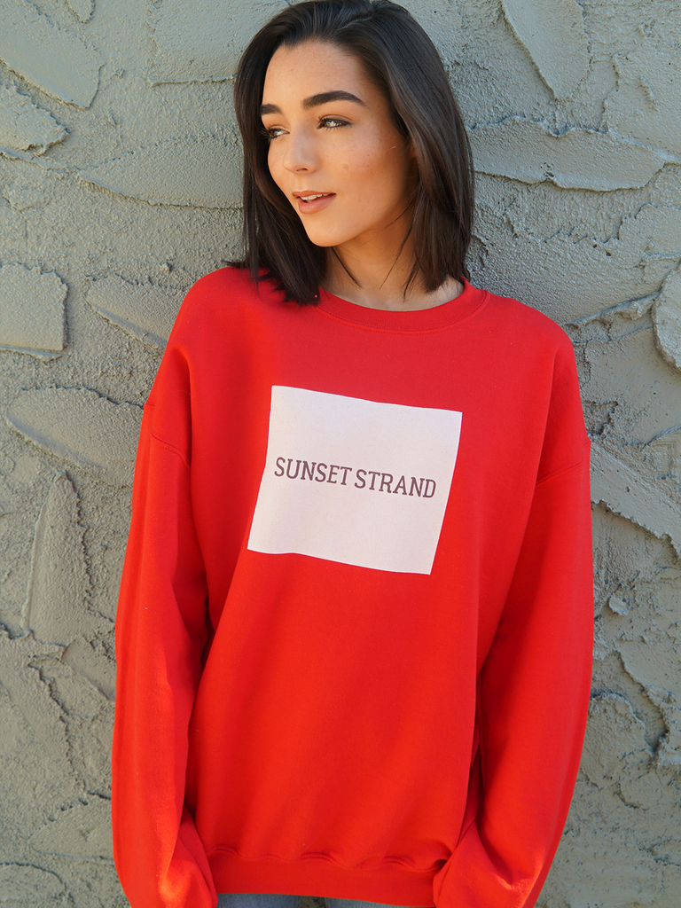 SUNSET STRAND CREWNECK SWEATSHIRT - ORIGINAL BOX RED - Sunset Strand