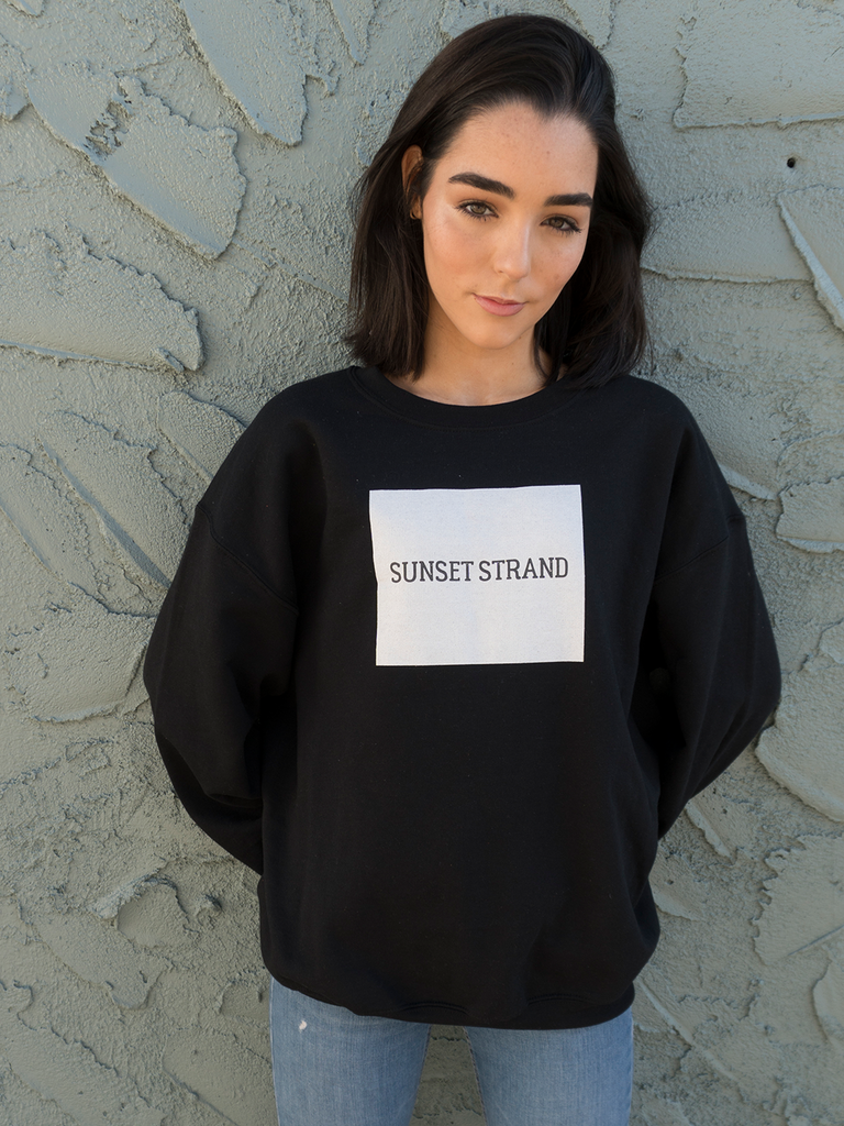 SUNSET STRAND CREWNECK SWEATSHIRT - ORIGINAL BOX BLACK - Sunset Strand