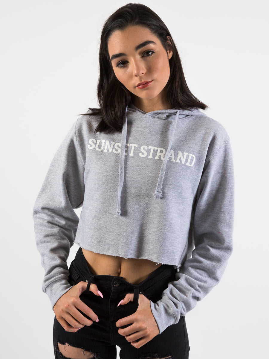 SUNSET STRAND CROP HOODIE - ASH GREY - Sunset Strand