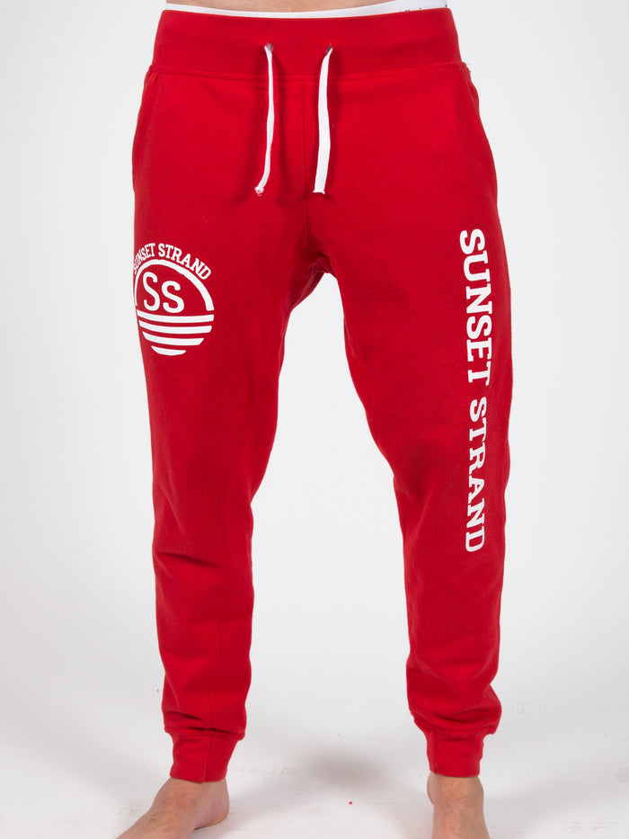 SUNSET STRAND UNISEX SWEATPANT JOGGERS  - RED - Sunset Strand
