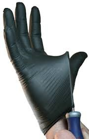Snake Skin Textured Black Nitrile Gloves
