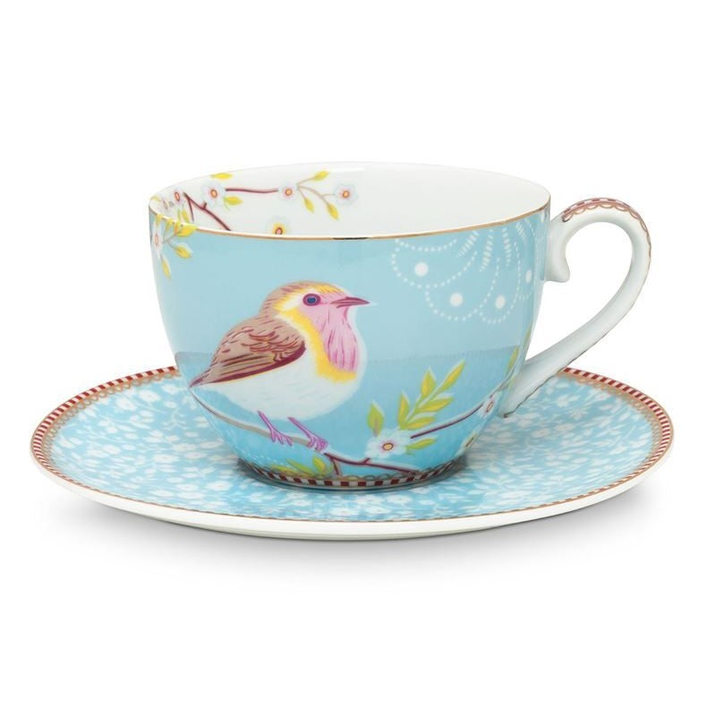 Floral Cappuccino Cup & Saucer Early Bird Blue