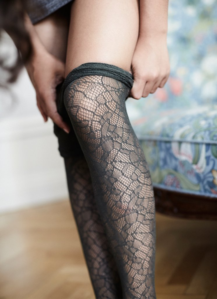 Edith lace tights mørk oliven