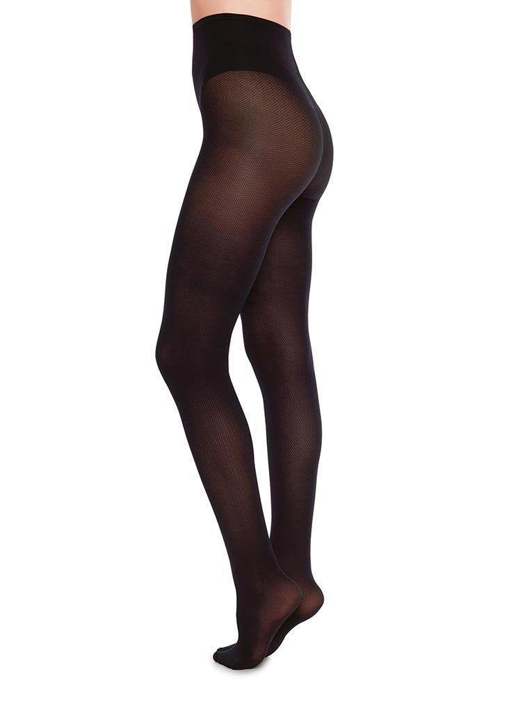 Nina fishbone tights sort 40 denier