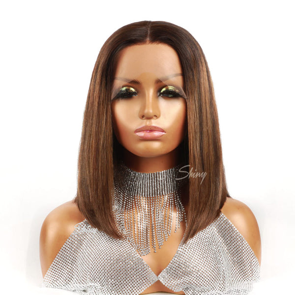 Piano Color Bob Human Hair Wig Glueless 13X6 T Part Lace Wig