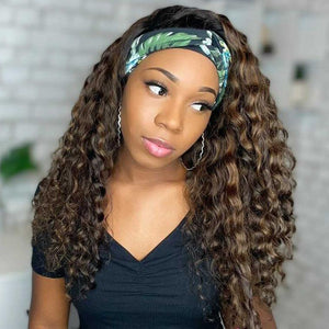 Miya Highlight Headband Wig Curly 100% Human Hair | Myshinywigs®