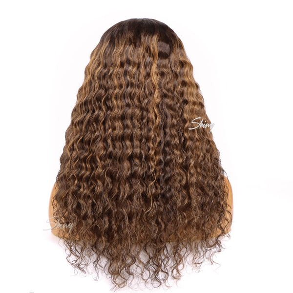 Leah Glueless Swiss Lace T Part Lace Wig Deep Wave Human Hair Wig