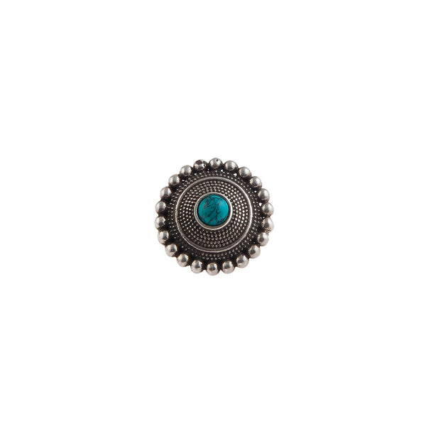 Abha Silver Nose Pin - Clip On, Turquoise Stone - mohabygeetanjali