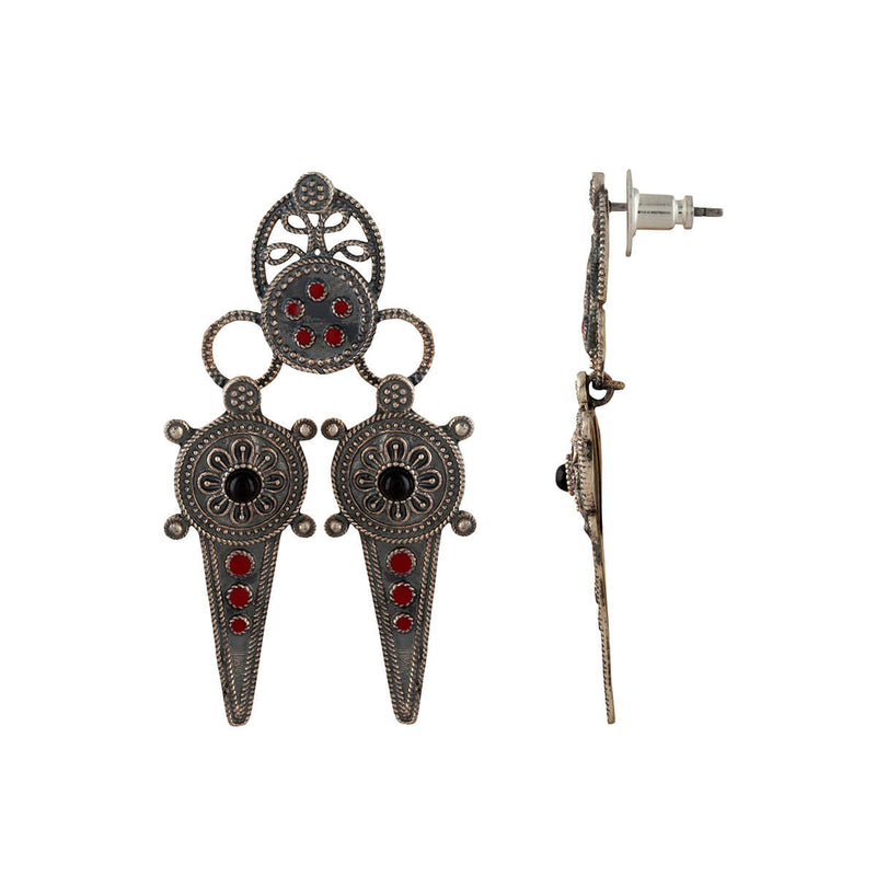 Buy Ahir Silver Earrings- Red Black