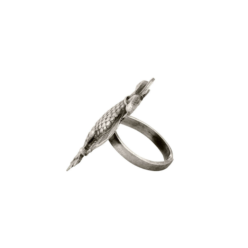 Aras (Gandabherunda) Silver Finger Ring Small