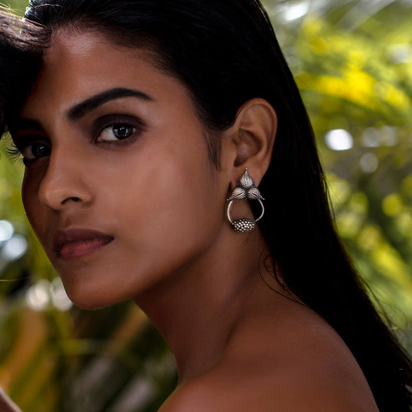 Arnica Loop Silver Earrings - mohabygeetanjali