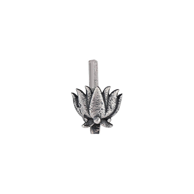Lotus Beauty Silver Nose Pin - Clip On - mohabygeetanjali